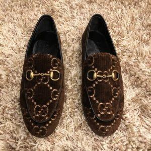 Gucci Jordaan GG velvet loafer brown size 34.5